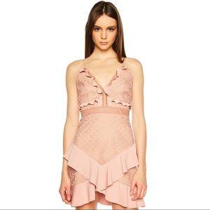 Bardot Dusty Rose Floral Lace Ruffle Mini Dress Md